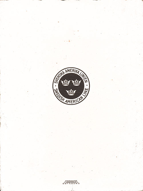 Back Cover, SS Drottningholm Luncheon Menu 27 May 1946