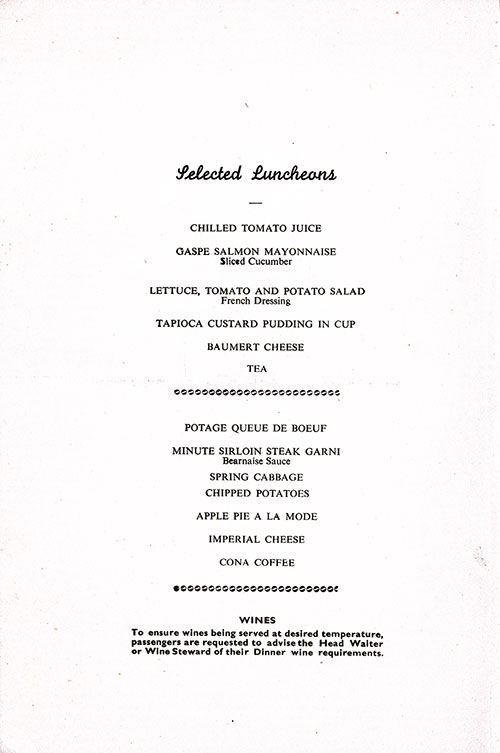 Chef's Suggestions, SS Empress of France Luncheon Menu - 19 May 1953