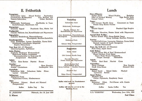 Menu Items in German and English, SS Europa Luncheon Menu - 18 June 1930