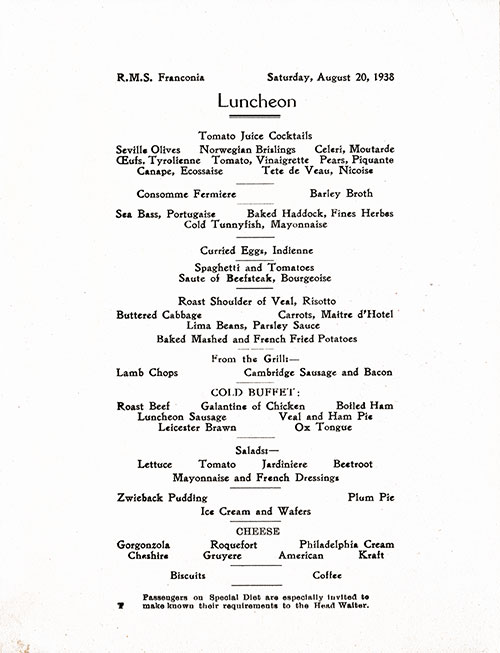 Menu Items, RMS Franconia Luncheon Menu - 20 August 1938