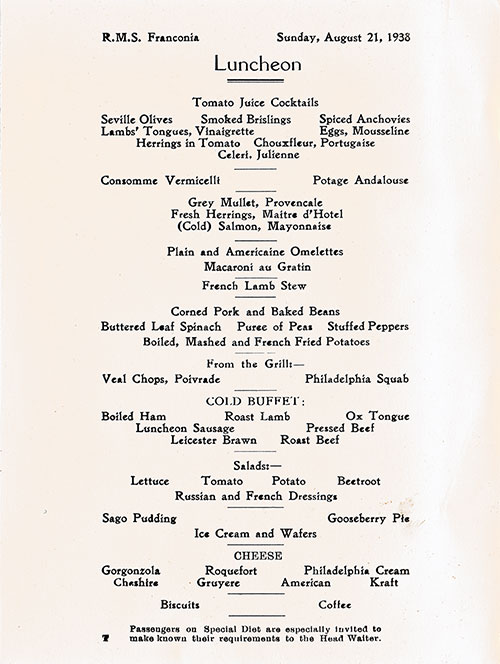 Menu Items, RMS Franconia Luncheon Menu - 21 August 1938
