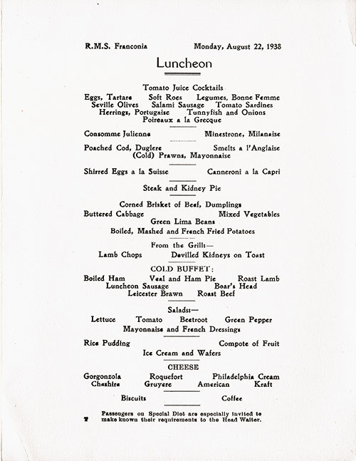 Menu Items, RMS Franconia Luncheon Menu - 22 August 1938