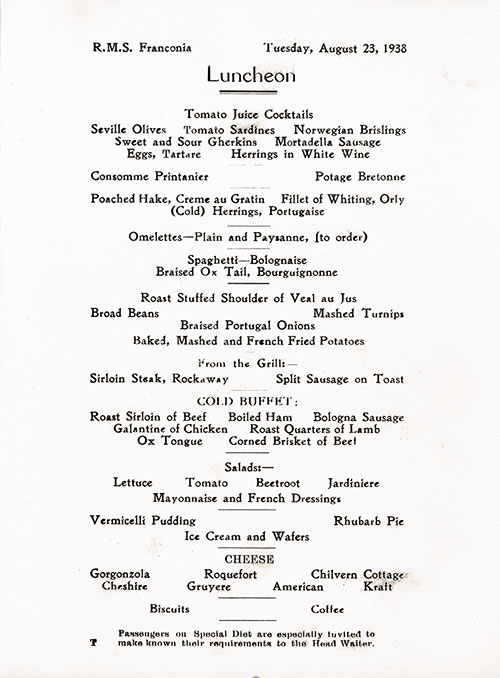 Menu Items, RMS Franconia Luncheon Menu - 23 August 1938