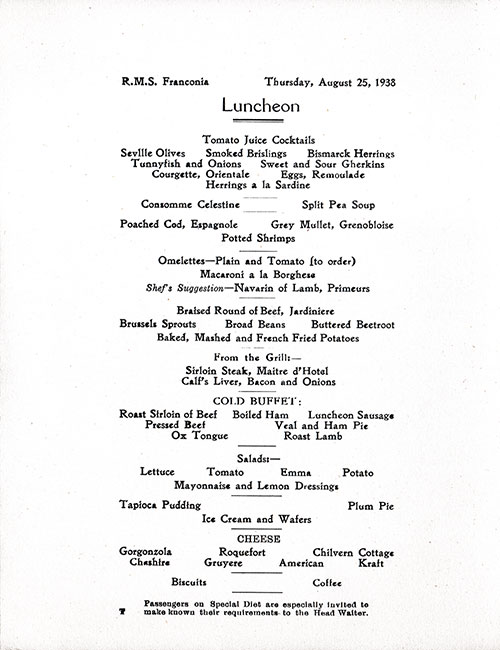 Menu Items, RMS Franconia Luncheon Menu - 25 August 1938