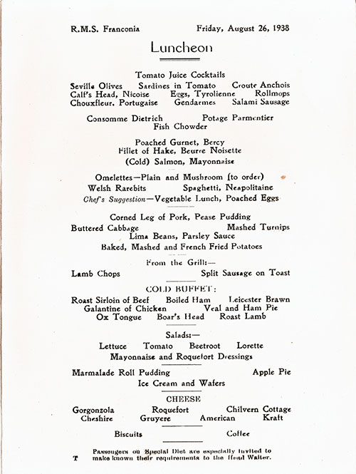 Menu Items, RMS Franconia Luncheon Menu - 26 August 1938