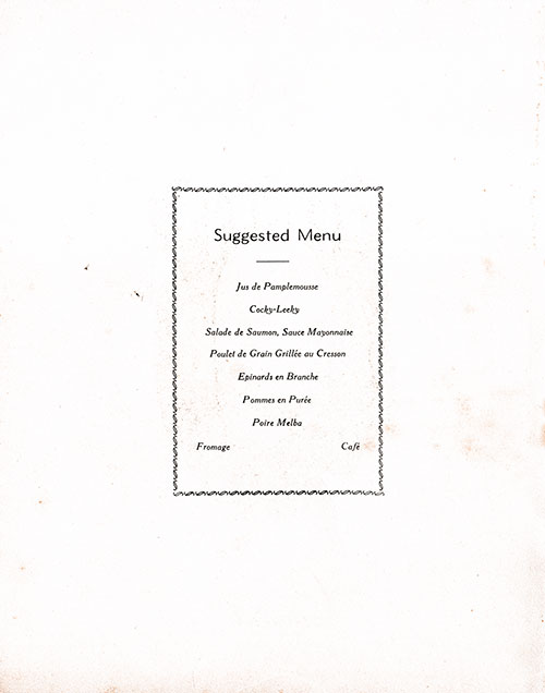 Chef's Suggestions, RMS Franconia Luncheon Menu - 11 June 1955