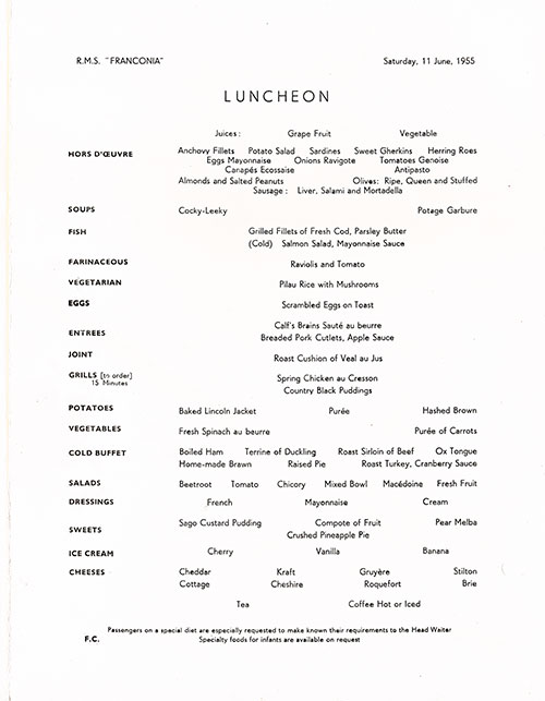 Menu Items, RMS Franconia Luncheon Menu - 11 June 1955