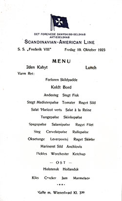 Front Cover, SS Frederik VIII Luncheon Menu 19 October 1923