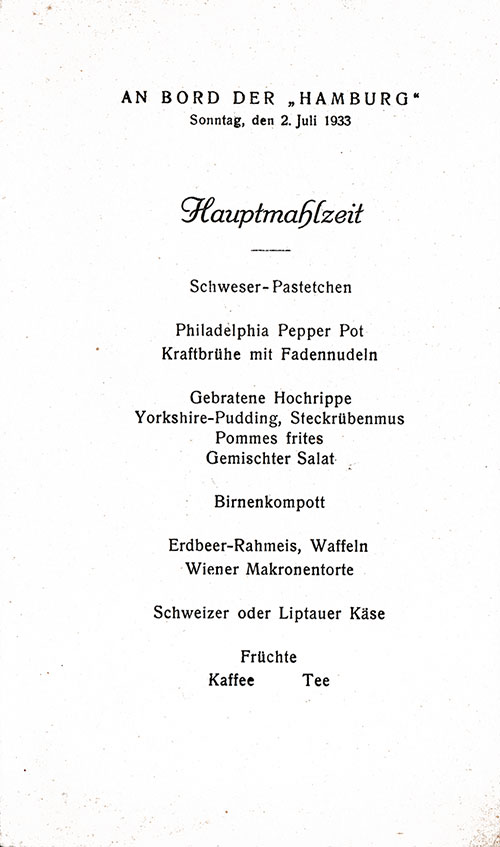Menu Items in German, SS Hamburg Luncheon Menu Card - 2 July 1933