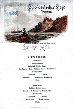 Menu Card, SS Lahn Luncheon Bill of Fare Card - 20 June 1900