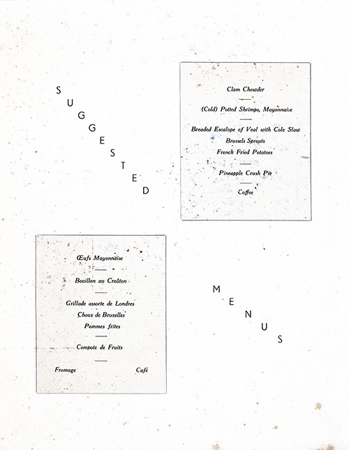Chef's Suggestions, RMS Mauretania Luncheon Menu - 17 October 1947