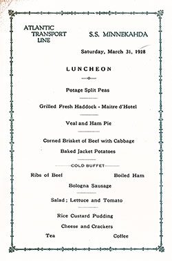 Menu Card, SS Minnekahda Luncheon Menu - 31 March 1928