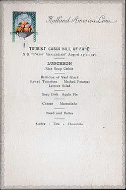Menu Card, SS Nieuw Amsterdam Luncheon Bill of Fare Card - 15 August 1930