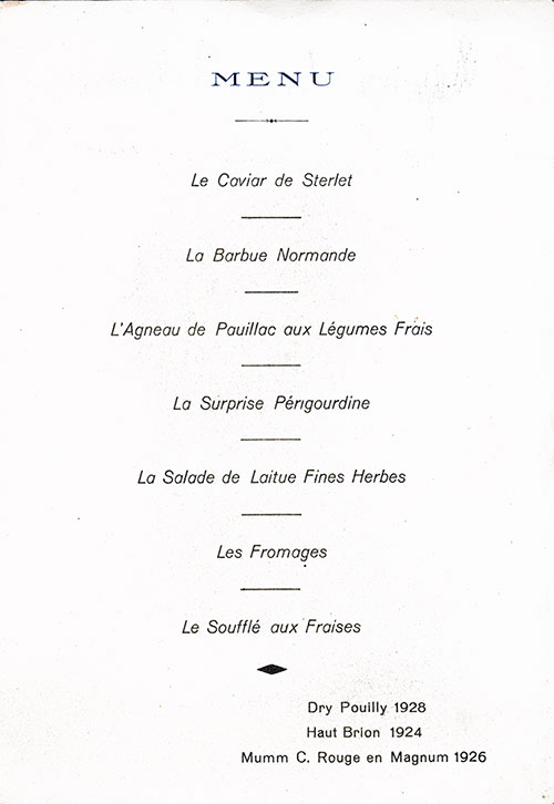 Menu Items in French, SS Normandie Luncheon Menu - 8 June 1936