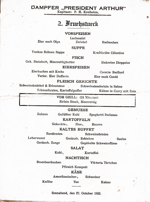 Menu Items in German, SS President Arthur Luncheon Menu - 27 October 1923