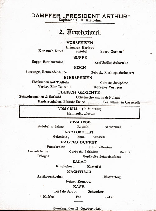 Menu in German, SS President Arthur Luncheon Menu - 28 October 1923