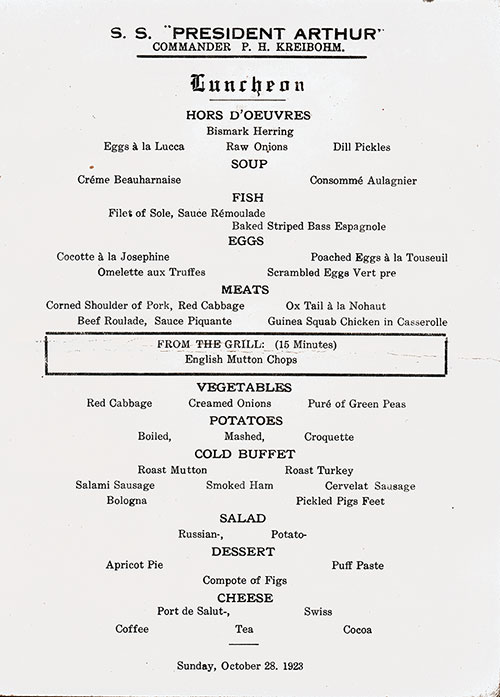 Menu Items, SS President Arthur Luncheon Menu - 28 October 1923