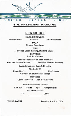 Menu Card, SS President Harding Luncheon Bill of Fare Card - 10 April 1934