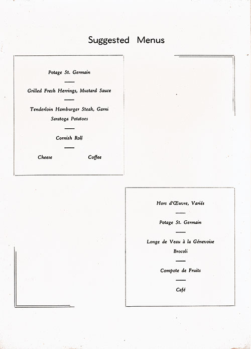 Chef's Suggestions, RMS Queen Mary Luncheon Menu - 23 December 1947