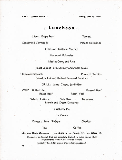 Menu Items, RMS Queen Mary Luncheon Menu - 15 June 1952