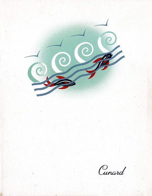 Front Cover, RMS Queen Mary Luncheon Menu - 12 August 1952
