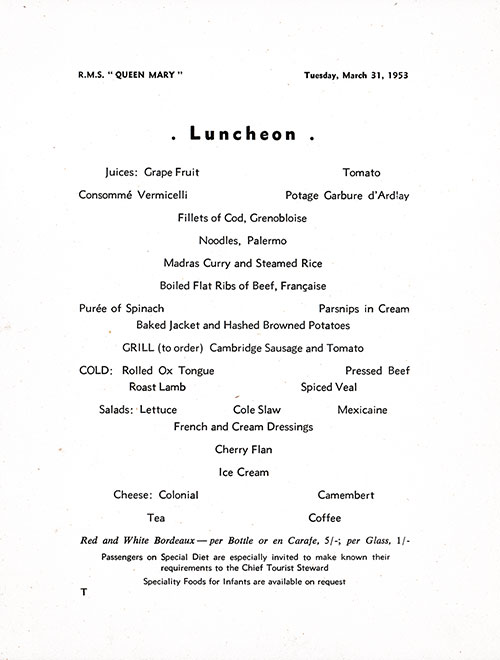 Menu Items, RMS Queen Mary Luncheon Menu - 31 March 1953