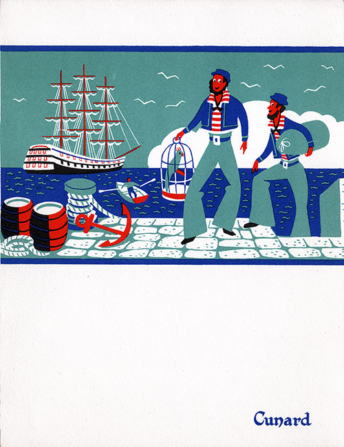 Front Cover, RMS Queen Mary Luncheon Menu - 2 April 1953