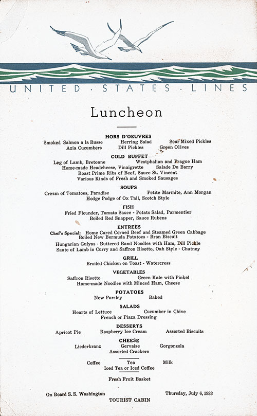 Menu Card, SS Washington Luncheon Menu - 6 July 1933
