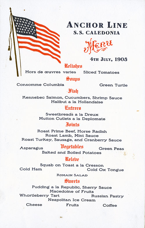 Menu Card - Dinner Menu SS Caledonia 4 July 1905