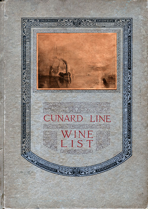 Front Cover of a Cunard Wine List from 1927
