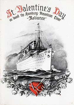 Front Cover, Valentine's Day Dinner Menu - S.S. Reliance 1938