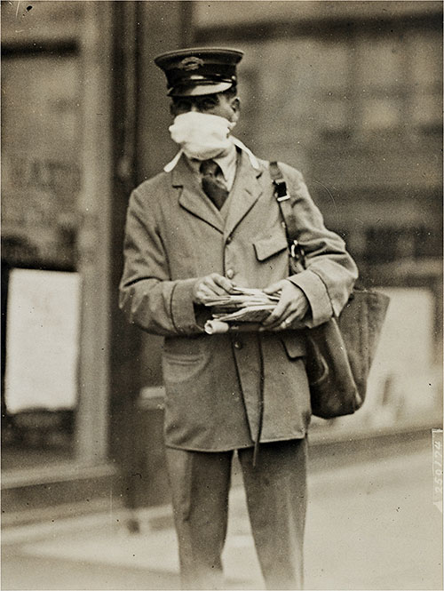 New York City Letter Carrier Wears Protective Mask During Influenza Epidemic.