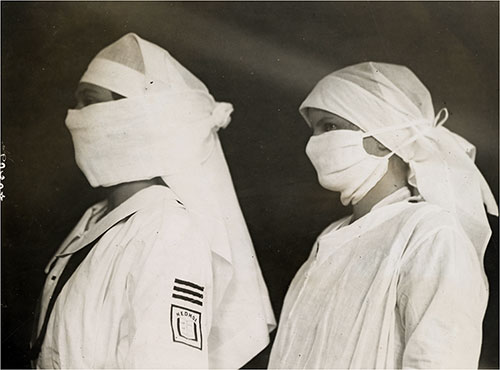 Nurses Wear Protective Masks in Boston Hospitals During Influenza Epidemic, 1918.
