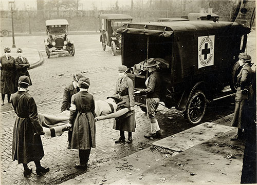 Red Cross Motor Corps on Duty St. Louis, Missouri, Circa October 1918.