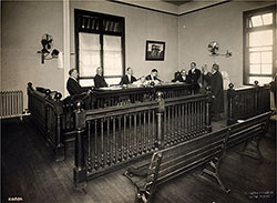 A Bearded Immigrant Appearing Before a Board of Inquiry at Ellis Island.