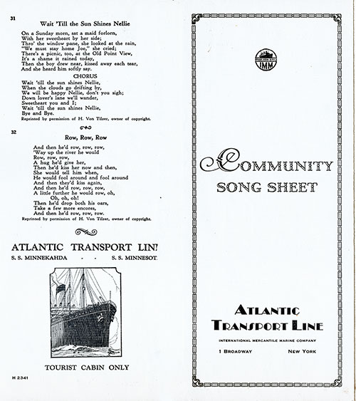 Cover of Community Song Sheet from the Atlantic Transport Line (ATL), Tourist Cabin on the SS Minnekahda and SS Minnesota.