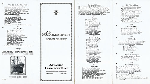 Sheet 1 of 1928 Community Song Sheet Published by the Atlantic Transport Line.