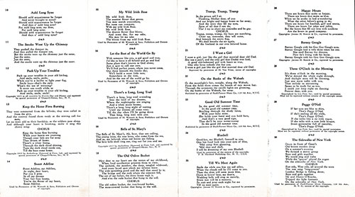 Sheet 2 of 1928 Community Song Sheet Published by the Atlantic Transport Line.