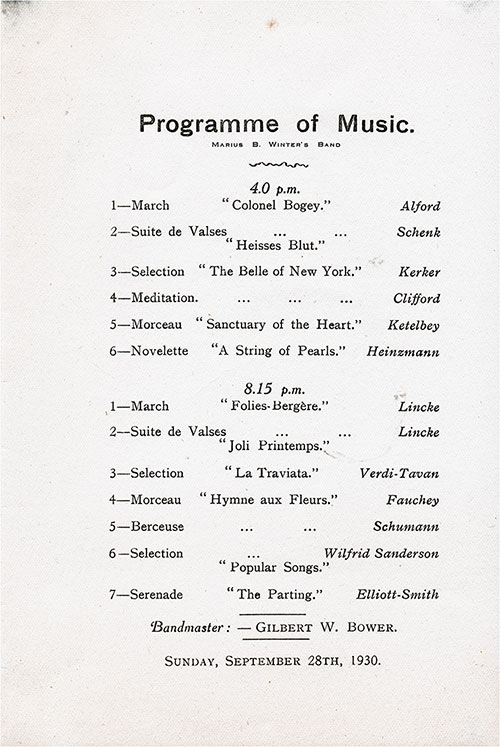 Programme of Music for the Marious B. Winter's Band on Board an Atlantic Transport Line Steamship.