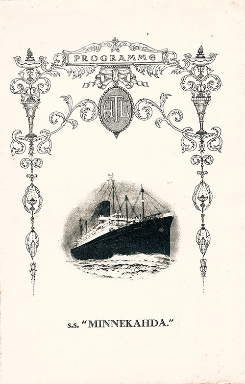 Front Cover, Atlantic Transport Line SS Minnekahda Grand Concert Program for Sunday, 29 July 1928.