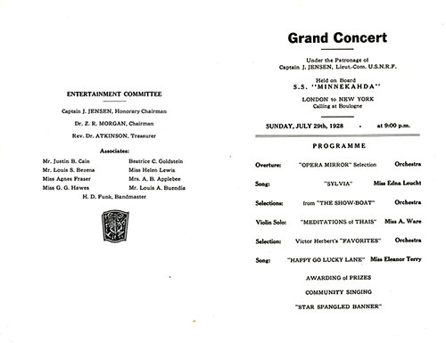 Atlantic Transport Line SS Minnekahda Grand Concert Program for Sunday, 29 July 1928.