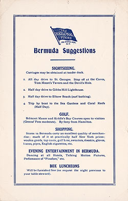 Suggestions for Visiting Bermuda from The National Tours on Board the SS California of the Anchor Line, February 1931.