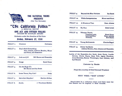 "Concert Program - ""The California Follies"" Presented by The National Tours On Board the SS California of the Anchor Line."