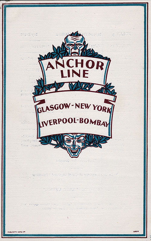 Back Cover, Concert Program on Board the SS California of the Anchor Line, Friday, 27 February 1931.