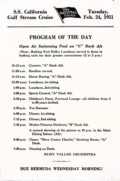 The National Tours Daily Program for 24 February 1931 during a Gulf Stream Cruise