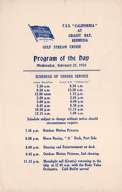 The National Tours Daily Program for 25 February 1931 during a Gulf Stream Cruise heading to Bermuda