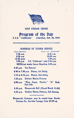 The National Tours Daily Program for 26 February 1931 during a Gulf Stream Cruise heading to Bermuda
