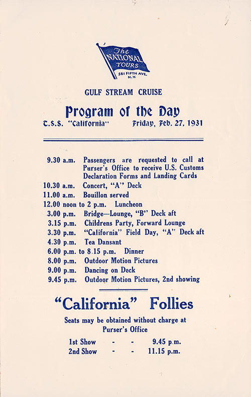 The National Tours Daily Program for 27 February 1931 during a Gulf Stream Cruise heading to Bermuda