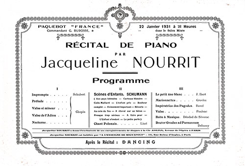 Program for the Piano Recital by Jacqueline Nourrit on board the SS France, 22 January 1931.