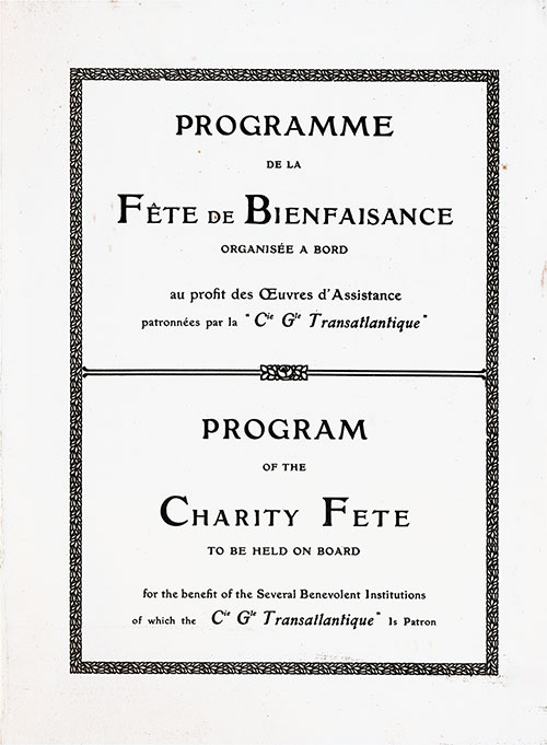 Charity Gala Concert Announcement, CGT French Line SS Ile de Frence Charity Gala Concert, 22 February 1931.